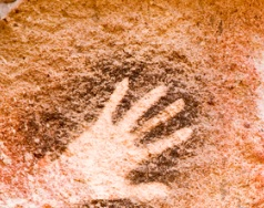Pre-historic spray-painted hand